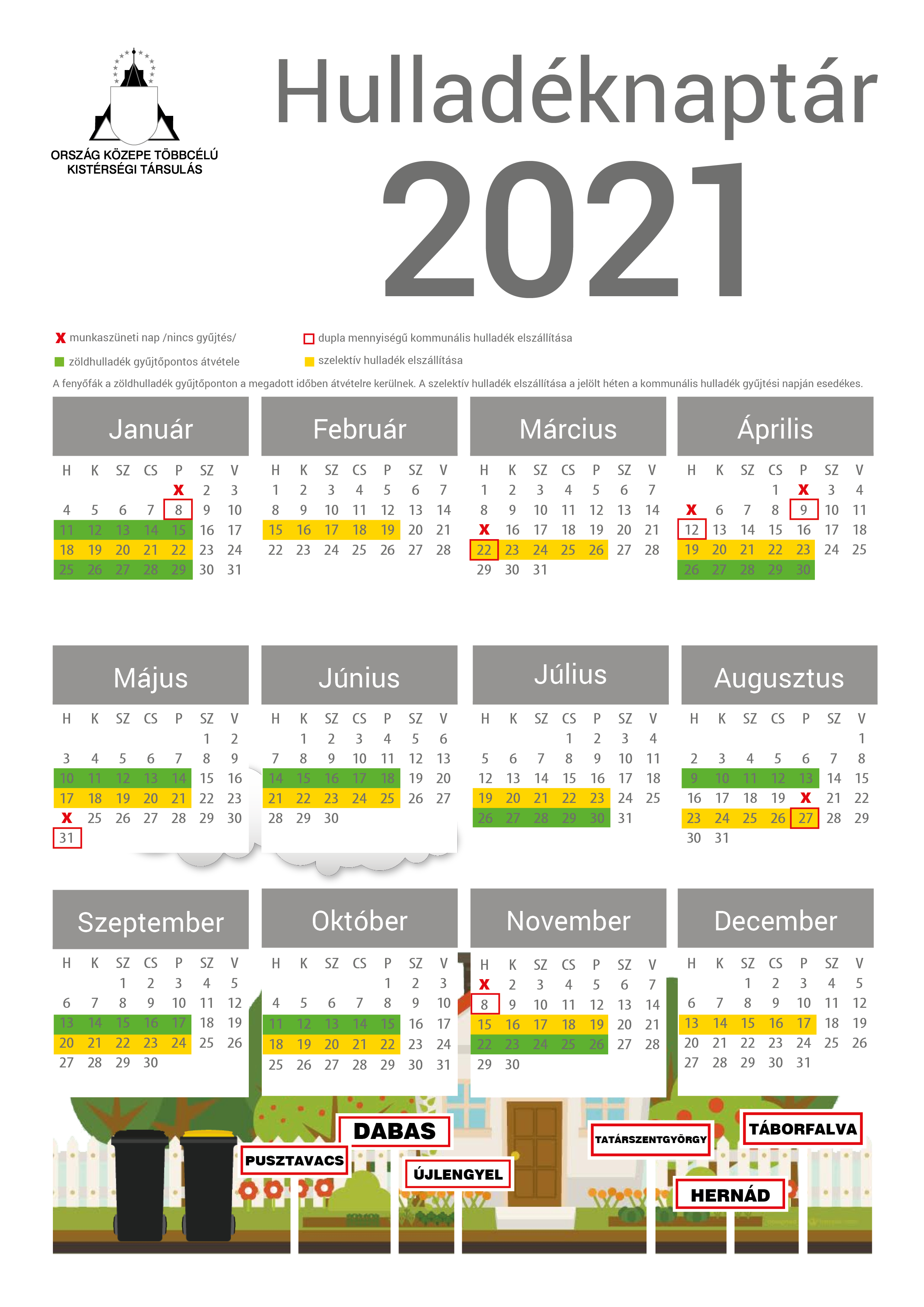 Hulladéknaptár 2021